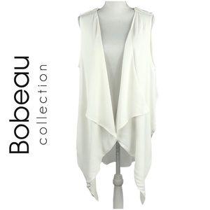 BOBEAU | White Draped Vest Flyaway